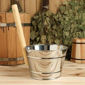 Ковш для обливания, металлический, с деревянной ручкой, 3 литра Ош