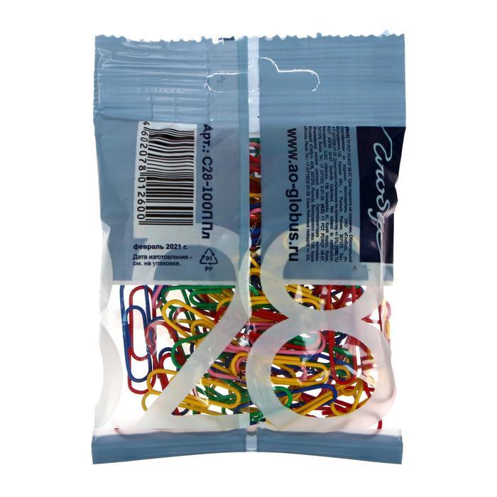 Скрепки канцелярские 28 мм цветные 100шт. GLOBUS флоу-пак