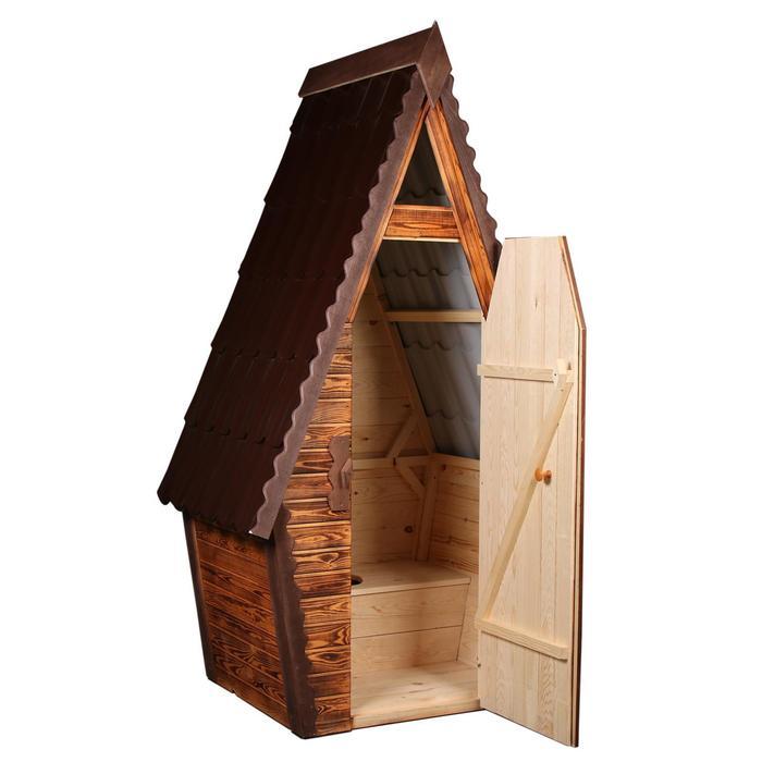 """Туалет разборный """"Теремок"""" со стульчаком, вагонка с обжигом 1 сторона, 15мм 1 и 2-го сорта"""