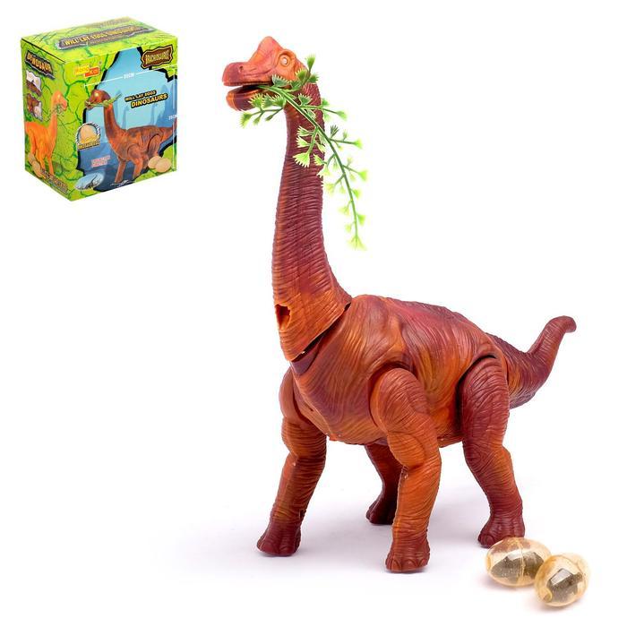 Динозавр «Брахиозавр травоядный», работает от батареек, откладывает яйца, с проектором, цвет коричневый