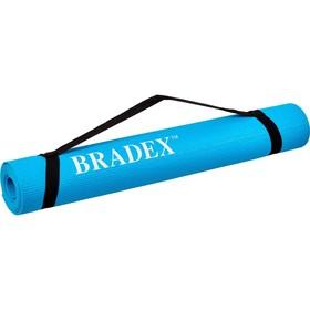 Коврик для йоги и фитнеса Bradex SF 0693, 173х61х0,3 см, бирюзовый с переноской