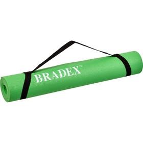 Коврик для йоги и фитнеса Bradex SF 0694, 183х61х0,4 см, зеленый с переноской