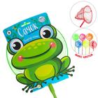 Сачок детский, бамбуковая ручка 58 см, d=24 см «Лягушонок», цвета МИКС