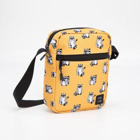 Сумка, отдел на молнии, наружный карман, цвет жёлтый, «Енот»