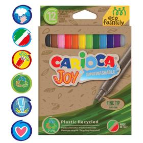 """Фломастеры 12 цветов Carioca """"Joy. EcoFamily"""" смываемые, картон, с заботой о природе, европодвес"""