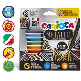 """Фломастер 8 цветов Carioca """"Metallic FineMarker"""" металлизированные, тонкая линия, картон, европодвес"""