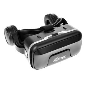 Очки виртуальной реальности Ritmix RVR-400, jack 3.5 мм, ширина смартфона до 80 мм, чёрные Ош