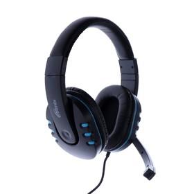 Наушники Ritmix RH-555M Gaming, игровые, полноразмерные, микрофон, 2x3.5 мм, 1.8 м, синие Ош