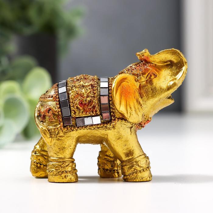 Сувенир подставка под благовония Золотой слоник с мозаикой из зеркал 5,2х6х3 см