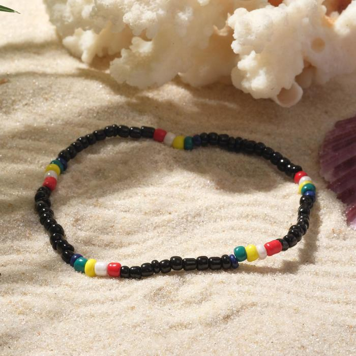 """Браслет """"Бисер"""" разноцветные бусинки, цвет чёрный, d=5см"""