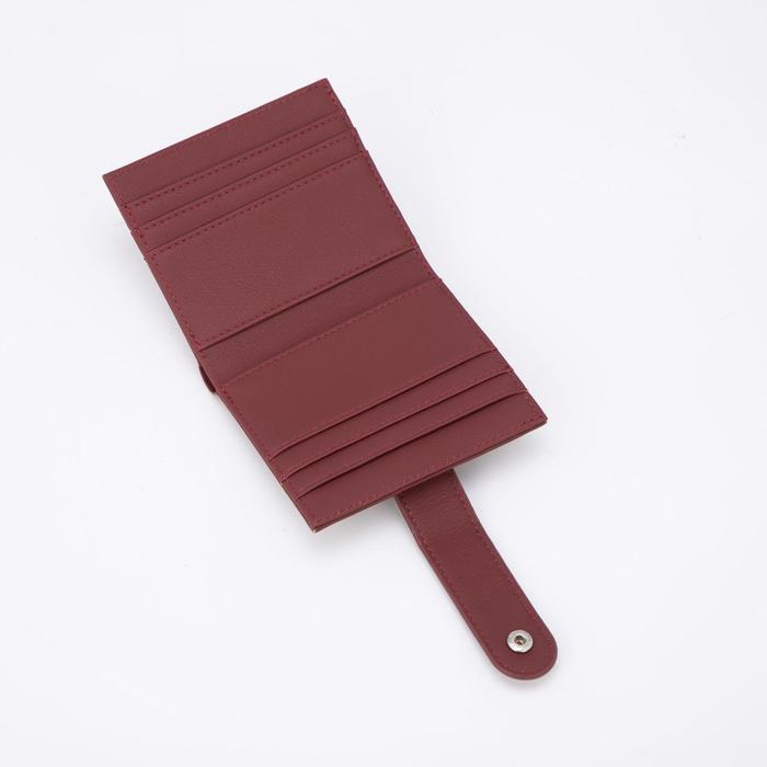 Картхолдер, отдел на кнопке, цвет бордовый