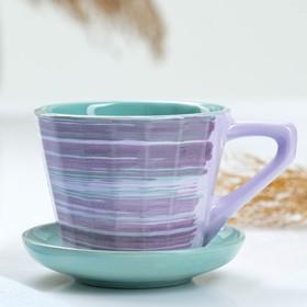 """Чашка """"Ностальгия №2"""" с блюдцем, 0,2л / блюдце 9см, лаванда"""