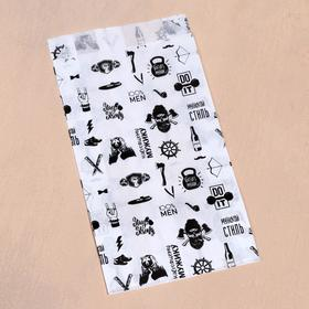Пакет бумажный, крафт, 'Настоящему мужику', V-образное дно, белый, 20 х 11 х 3,5 Ош