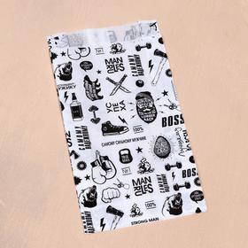 Пакет бумажный, крафт, 'Мужику', V-образное дно, белый, 20 х 11 х 3,5 см Ош