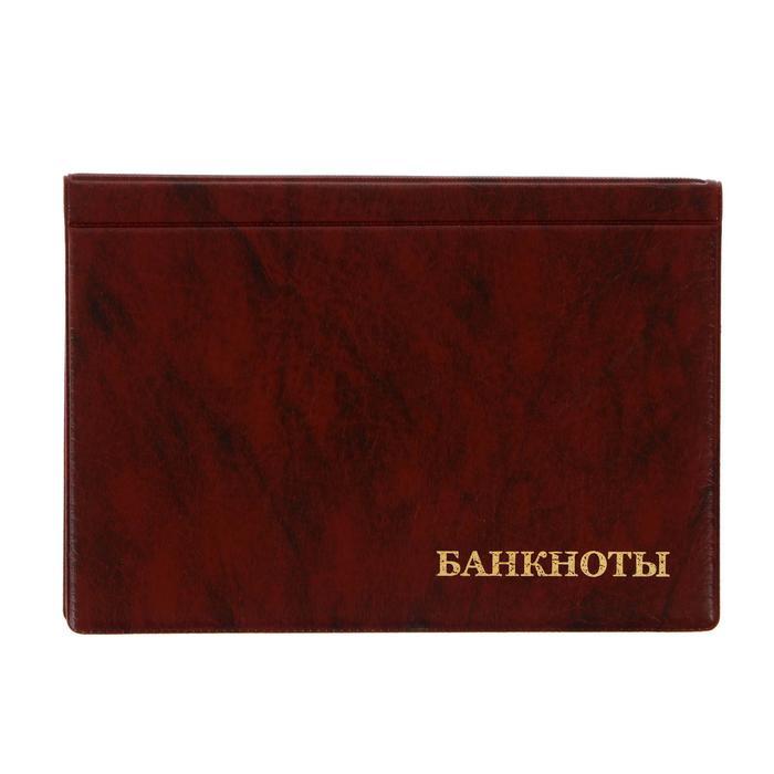 Альбом для бон, 125 х 185 мм Calligrata, на 16 банкнот, обложка искусственная кожа, коричневый