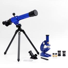 Набор обучающий 'Опыт': телескоп настольный , сменные линзы 20х/ 30х/ 40х, микроскоп 100х/ 200х/ 450х, инструменты для исследования Ош