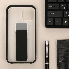 Чехол LuazON для iPhone 12/12 Pro, с ремешком-подставкой, пластиковый, черный
