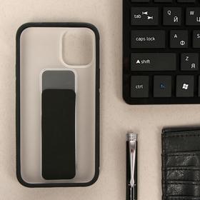 Чехол LuazON для iPhone 12 mini, с ремешком-подставкой, пластиковый, черный