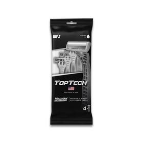 Одноразовые станки с увлажняющей полоской Toptech 3, 4 шт.