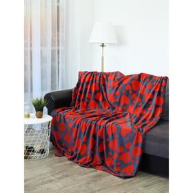 Плед «Сердечки», размер 150x200 см, цвет красный, темно-синий