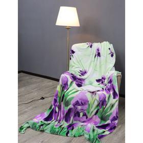 Плед «Ирисы», размер 150x200 см, цвет зелёный, фиолетовый