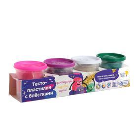 Набор для детской лепки «Тесто-пластилин» с блёстками, 4 цв.