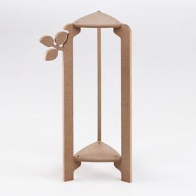 Стойка-полка для цветов двухъярусная 'Флора' 49х27х25 см, неокрашенная (для декорирования) Ош