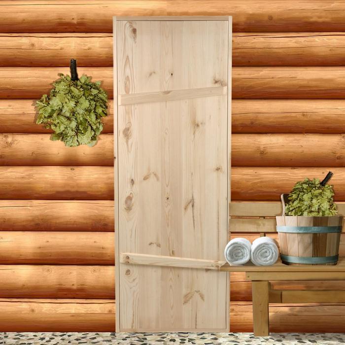 """Дверной блок для бани, 190х70 см, из сосны, на клиньях, массив, """"Добропаровъ"""""""