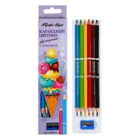 Карандаши двусторонние 6 цветов + точилка «Профи-Арт», круглые, 2 типа грифеля: d-3 мм и 4 мм