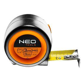 Рулетка NEO 67-213, 3 м х 19 мм, стальная, нейлоновое покрытие, автостоп, магнитный зацеп