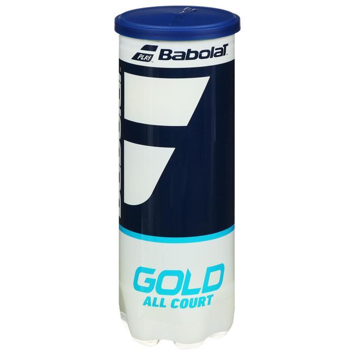 Мяч теннисный BABOLAT Gold All Court 3B, 3 шт., одобрено ITF, сукно, резина, цвет жёлтый