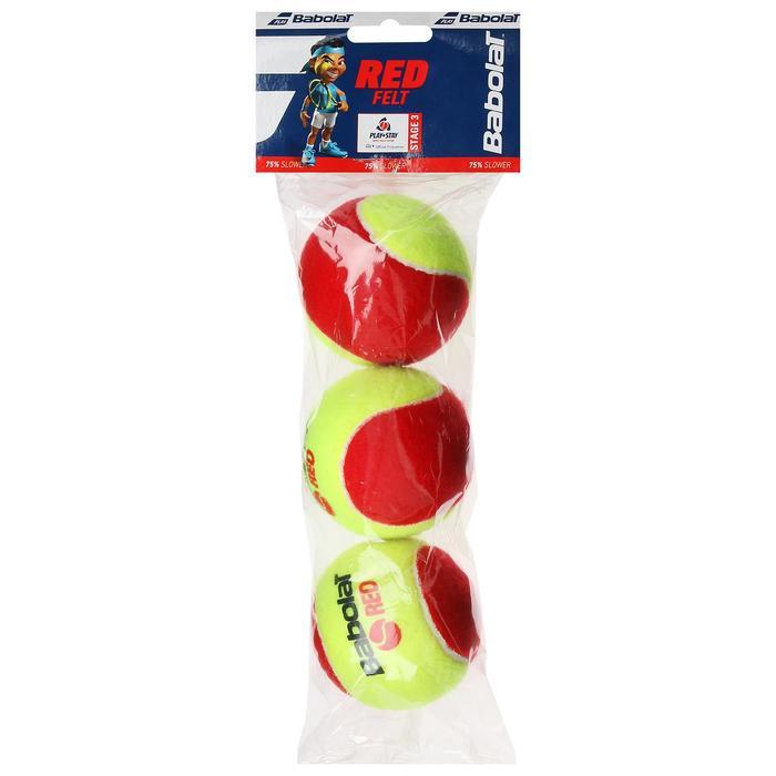 Мяч теннисный BABOLAT Red, 3 шт., войлок, шерсть, резина, цвет желтыйкрасный