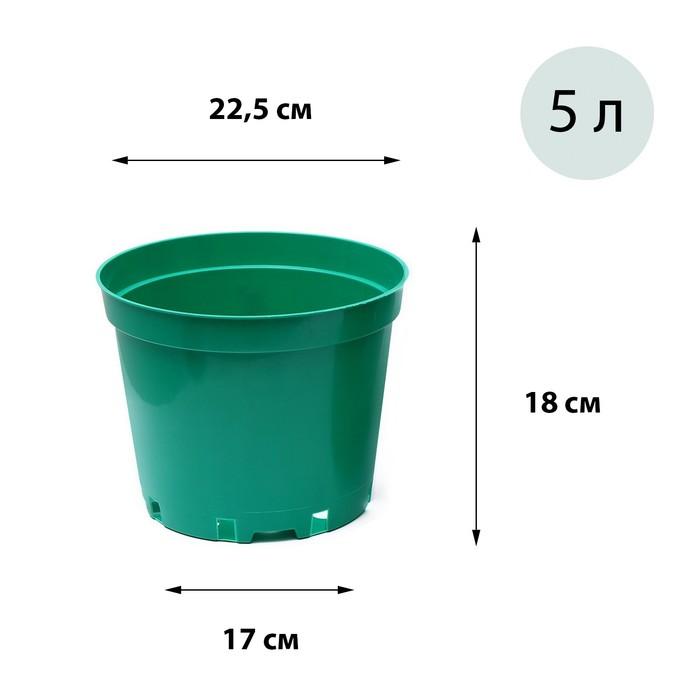 Горшок для рассады, 5 л, d = 22 см, h = 18 см, голубой, Greengo