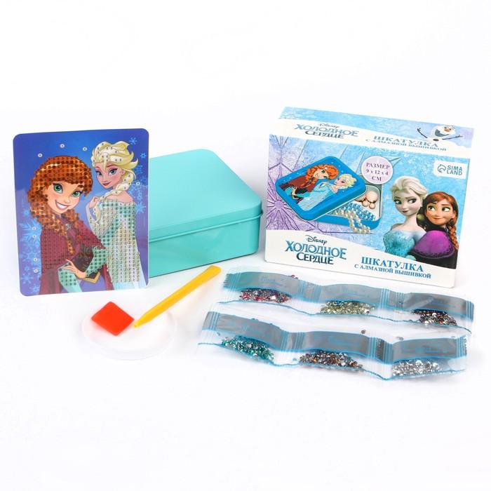 Алмазная вышивка на шкатулке Холодное сердце: Анна и Эльза 8.5*11.5 см