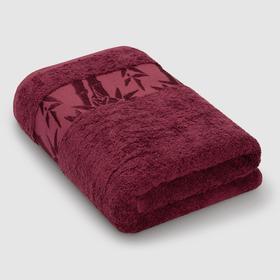 Полотенце махровое «Бамбук», размер 41 х 70 см, цвет бордовый