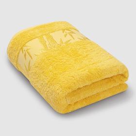 Полотенце махровое «Бамбук», размер 41 х 70 см, цвет жёлтый