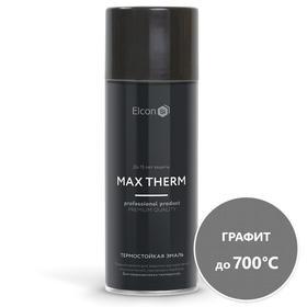 Термостойкая антикоррозионная эмаль Elcon Max Therm, до 700 °С, 0,52 л, графит, аэрозоль Ош