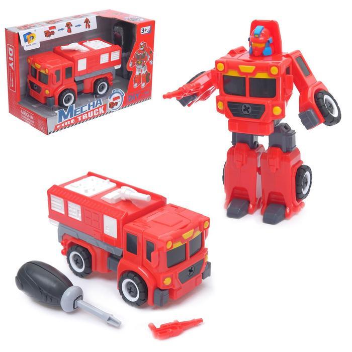 Конструктор винтовой «Пожарка», 2 в 1 робот-машина
