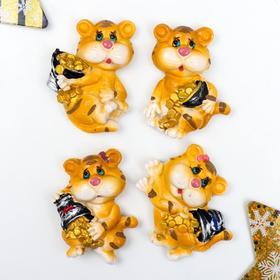 купить Магнит полистоун Тигра с ведёрком золотых монет МИКС 6,4х4,5 см