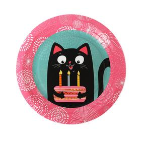 Тарелка бумажная «Кошка», 18 см, 6 шт.