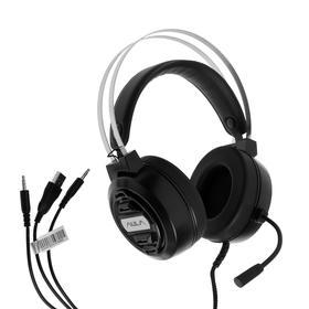 Наушники AULA S603, игровые, полноразмерные, микрофон, 3.5 мм, USB, 2.1м, подсветка ,черные