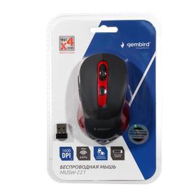 Мышь Gembird MUSW-221-R, беспроводная, оптическая, 1600dpi, 1xAA (не в компл), красно-черная