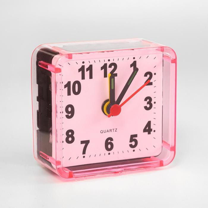 """Будильник """"Квадрат"""", дискретный ход, 5.5 х 5.5 см, d=5.5 см, розовый"""