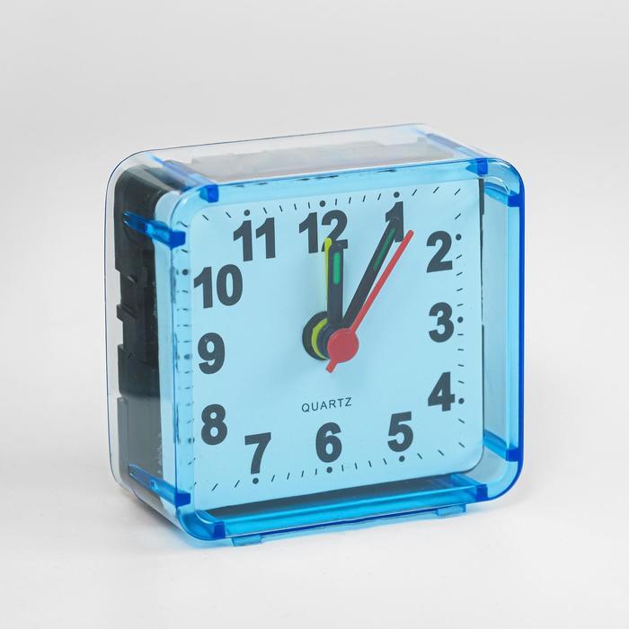 Будильник Квадрат, дискретный ход, 5.5 х 5.5 см, d5.5 см, голубой