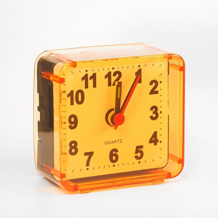 Будильник Квадрат, дискретный ход, 5.5 х 5.5 см, d5.5 см, оранжевый