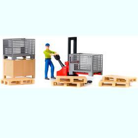 Механический складской погрузчик с аксессуарами и фигуркой