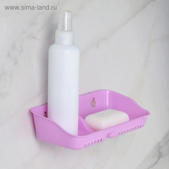 Полка для ванной с мыльницей «Алфавит», 20×9,5×4 см, цвет МИКС