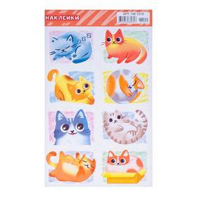 Наклейки десткие 'Кошки' УФ-лак, глиттер, нарисованные кошки, 16 х 10 см Ош