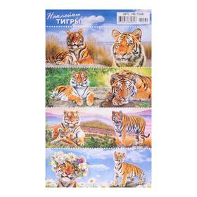 Наклейки десткие 'Тигры' УФ-лак, глиттер, 16 х 10 см Ош