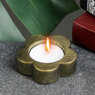 "Подсвечник ""Цветок"" состаренное золото, 6х6х3см - Фото 1"